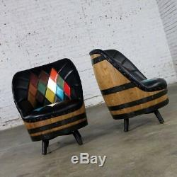 11 Pc Vtg 60 70's Man Cave Kentucky Brothers Whiskey Barrel Chairs Table Bar