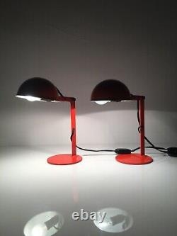 2 x 1960s Pair of Italian Bedside Lamp- Light Vintage Mid Century Pair Table Red