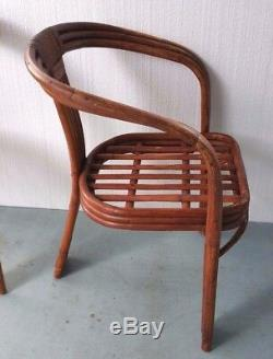 (3) Vintage Mid Century Modern Bamboo Rattan Bent Wood Arm Chairs Wooden Pegged
