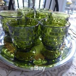 6 Vintage Green Indiana Whitehall Juice Glasses Footed Cup Mid century