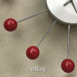 GEORGE NELSON Vintage Red Ball Clock Mid Century Modern Atomic Starburst Retro