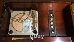 General Electric Vintage Mid Century Modern Stereo Console Record Player Radio