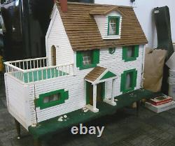 Large Antique Late Mid-Century Handmade Wooden DOLL HOUSE withElectric, Vintage