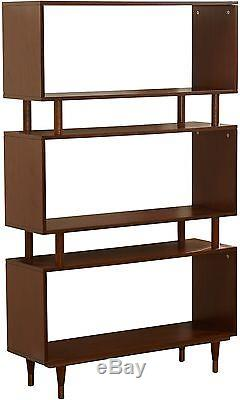 Margo Mid-Century 3-Shelf Bookshelf Brown Bookcase Wood Vintage Modern