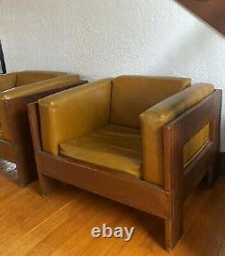 Mid Century Modern Wood Lounge Cube Chairs Faux Leather Vintage 70s