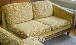 Mid Century Two Piece Sectional Floral Yellow / Chartreuse / Gold Vintage Sofa