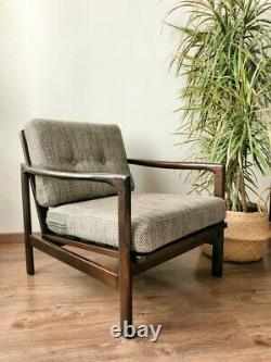 Mid Century Vintage Danish Style Armchair by Baczyk 1970s