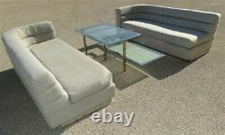 PAIR Vintage Post Mid-Century Modern Rounded Couches Gray Cloth Chrome Base
