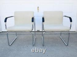 PAIR Vtg 70s OFS Mid Century Modern Tubular Chrome Wavy Upholstered Side Chairs