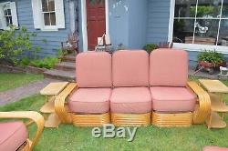 PAUL FRANKL STYLE 9 piece Rattan BAMBOO Vtg Mid Century Sofa/Chairs Tables
