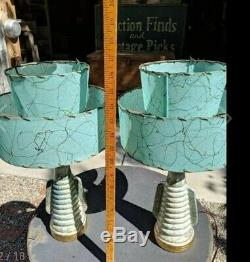 Pair Vtg Retro Mid Century Gold Splatter Bedside Table Lamps withShades Deena