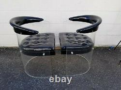 Pair of Vintage Clear Lucite Acrylic Chairs 70s Mid Century Modern
