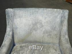Pair of Vintage Mid Century Modern Baby Blue Accent Chairs Milo Baughman Style