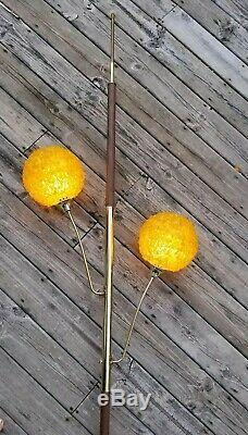 RARE Vintage/Mid-Century MOD Gold ROCK CANDY Tension POLE Floor to Ceiling LAMP
