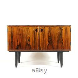 Retro Vintage Danish Low Rosewood Sideboard Cabinet 1960s Mid Century Modern 70s