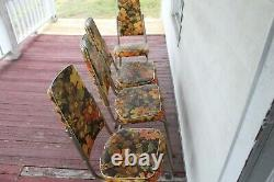 Set of 4 Vintage Mid Century Modern Chairs 1960's UGLY Flowered Imperial Kitchen