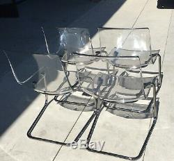 Set of 4 Vtg Tobias Carl Ojerstam Lucite & Chrome Chairs Ikea Mid Century Modern