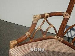 Set of Four Vintage Mid Century Modern McGuire Bamboo Rattan Dining Chairs