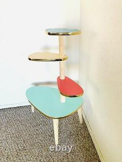 Space Age Plant Stand Mid Century Side Table Formica End Table Vintage 50s 60s