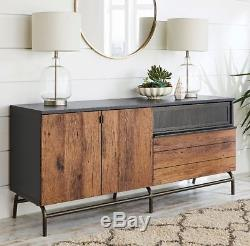 TV Credenza 60 Stand Mid Century Modern Rustic Sideboard Buffet Black Vintage