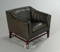 VINTAGE DANISH MID CENTURY GRANDT LOUNGE CHAIR IN BUFFALO LEATHER 1960s