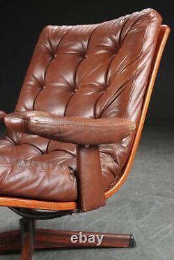 VINTAGE DANISH MID CENTURY LEATHER LOUNGE CHAIR by GOTE MOBLER 1970s