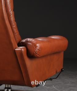 VINTAGE DANISH MID CENTURY LEATHER LOUNGE CHAIR in COGNAC LEATHER 1970s