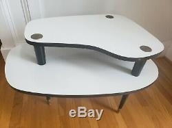 VTG White Black Mid Century Modern Step End 2 Tier Table Formica Laminate Atomic