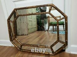 Vintage Faux Bamboo Tortoise Large Wall Mirror Hollywood Regency Mid Century