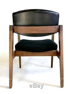 Vintage Gunlocke MidCentury Danish Clam Chair Office Cantilever Atomic Dining