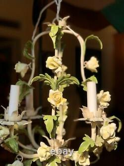 Vintage Italian Midcentury Tole Chandelier Yellow Porcelain Roses Metal Tags