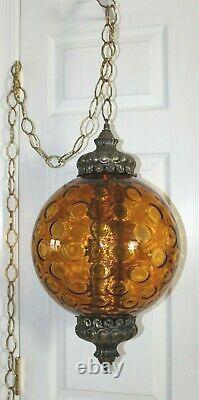 Vintage Large Mid Century Amber Glass Swag Hanging Light Lamp
