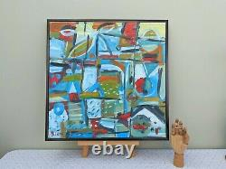 Vintage MID Century Expressionist Framed Oil Abstract Painting Equinox