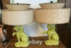 Vintage Mid Century Chartreuse Sitting Tiger Table Lamps Fiberglass Shades