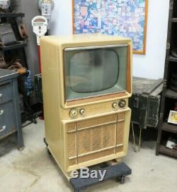 Vintage Mid-Century Modern Blonde Philco Console TV for Props or Display