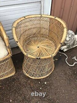 Vintage Mid Century Modern Boho Wicker Rattan Peacock Chair Couch And Chairs SET