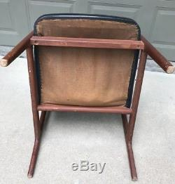 Vintage Mid Century Modern Bucket Lounge Arm Chair Black Upholstery Wood