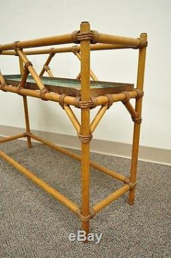 Vintage Mid Century Modern Hollywood Regency Bamboo Plant Stand rattan faux