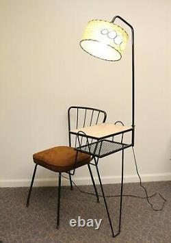 Vintage Mid Century Modern Phone Gossip Table with Chair & Attached Lamp