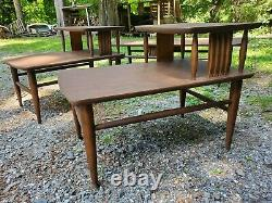 Vintage Mid Century Modern Set Rowe Gondola Couch Sofa Coffee Side Tables 1960s