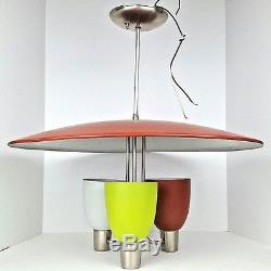 Vintage Mid Century Modern Space Age Atomic UFO Ceiling Chandelier Light Fixture