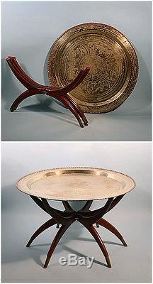 Vintage Mid Century Moroccan Brass Tray Coffee Table Wooden Spider Legs Boho