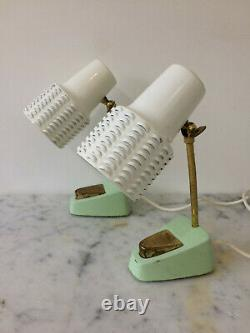 Vintage Mid Century Pair Lamps Mint Green White Brass