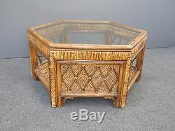 Vintage Mid Century Rustic Rattan Bamboo Palm Beach Tiki Glass Coffee Table