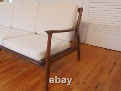 Vintage Midcentury walnut Sofa Couch, Danish Modern style, newly reupholstered