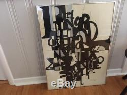 Vintage Painting Mid Century Modern Abstract in Black/White/Silver, signed work