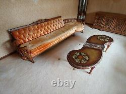 Vintage Sofa Couch Settee Crushed Velvet / Tufted Mid-Century