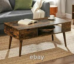 Vintage Style Mid Century Modern Coffee Table Brown Wood Side Table Shelf Drawer