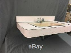Vtg Cast Iron Pink Retro Drop In Sink Old Mid Century Bath Vanity Top 755-17E