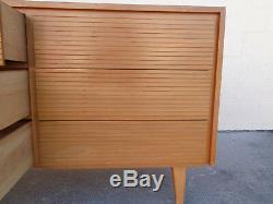 Vtg Jetsons Style MCM Baumritter Attributed 6 Slotted Drawer Wood Dresser Chest
